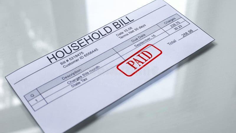 在家庭票据盖印的被支付的封印,服务付款,月费用关税 皇族释放例证