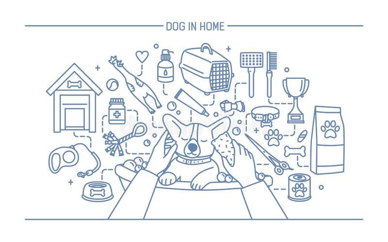 在家庭等高横幅的狗与宠物玩具、meds和小狗饭食 水平的概述线艺术传染媒介例证 皇族释放例证