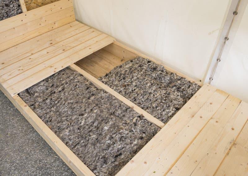 在家庭设计的地板绝缘材料与绵羊羊毛 库存图片