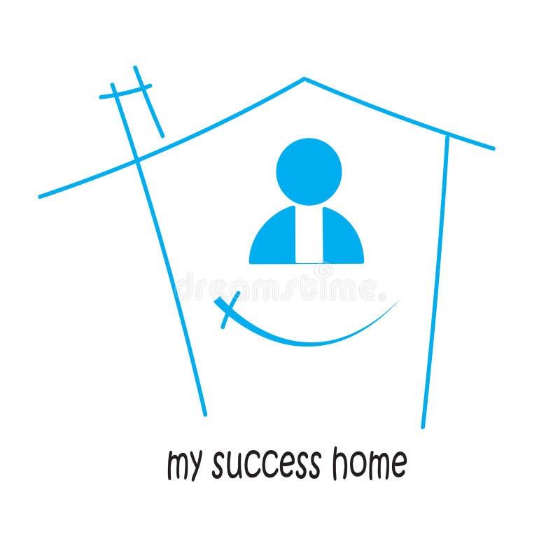 在家我的成功和胜利 在 库存例证