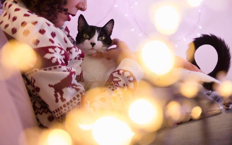 在家戴圣诞老人帽子的妇女和圣诞节毛线衣和可爱的宠物猫 与被弄脏的光的欢乐装饰 免版税库存照片