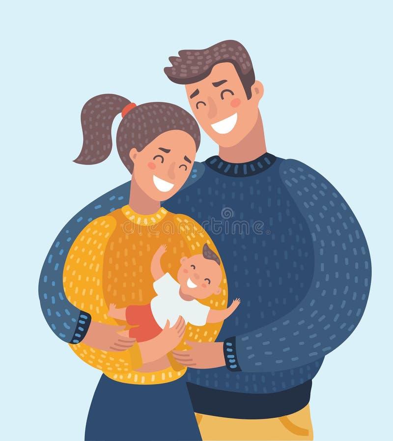 在家拿着他们新出生的小女儿的微笑的母亲和父亲 向量例证
