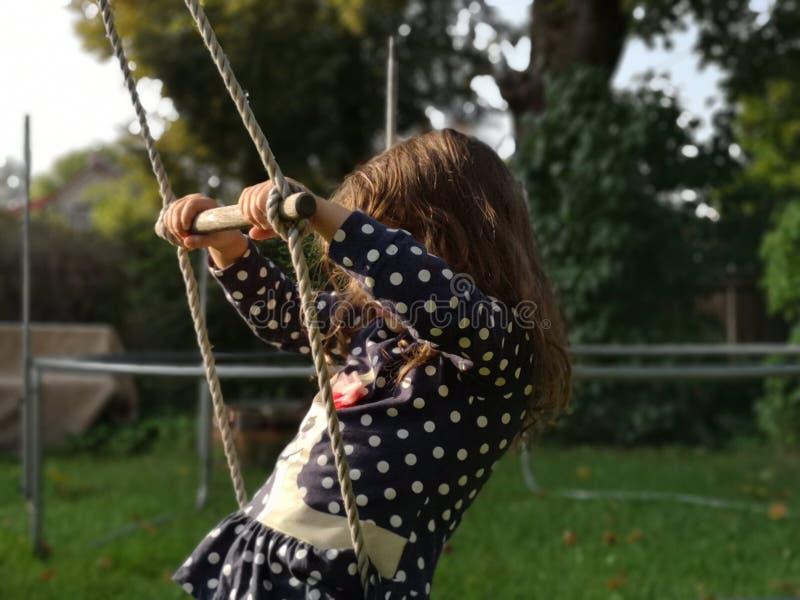 在家摇摆在绳梯围场的小孩 库存照片