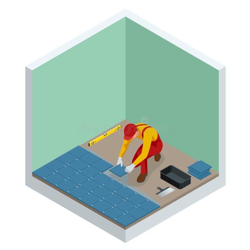 在家放置瓦片 安装小陶瓷砖在卫生间地板和应用与修平刀的工作者灰浆 等量 库存例证