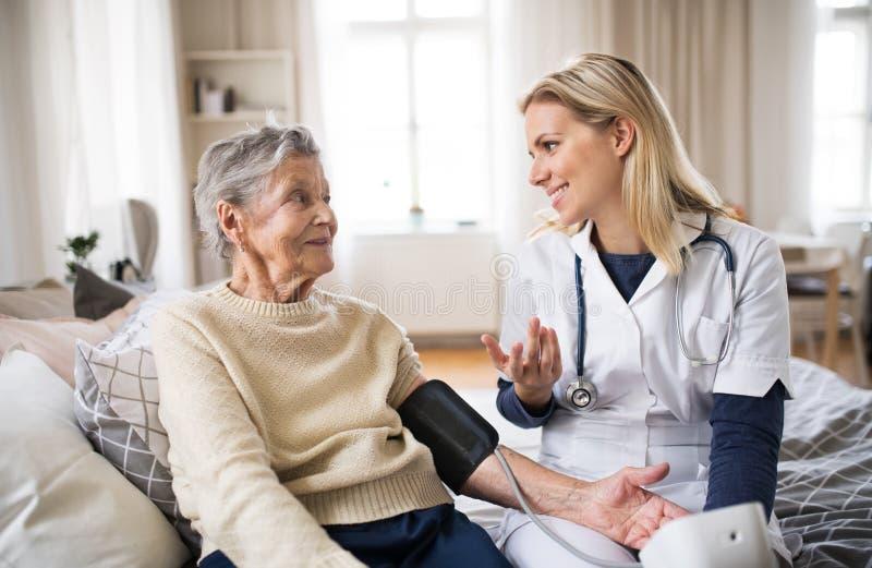 在家测量一名资深妇女的血压的健康访客 免版税库存照片