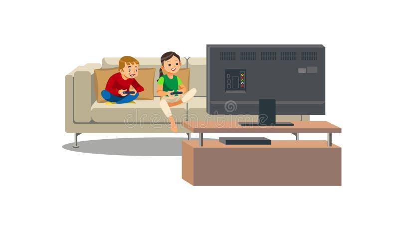 在家演奏电子游戏传染媒介的兄弟姐妹 向量例证