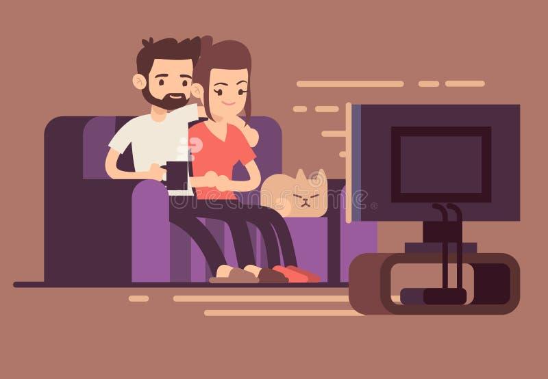 在家看电视的轻松的愉快的年轻夫妇在客厅 向量例证