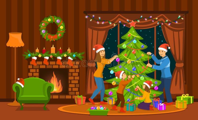 在家装饰圣诞树的家庭在客厅 向量例证