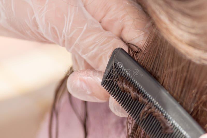 在家调直角质素的头发 免版税图库摄影