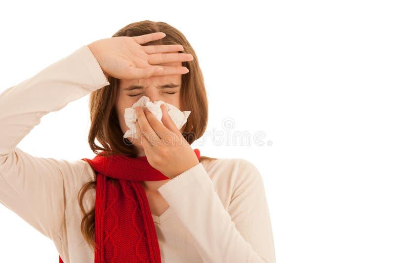 在家遭受流行性感冒的生气少妇 图库摄影