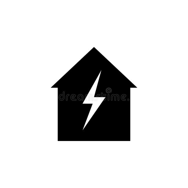 在家,在白色背景的闪电象 能为网,商标,流动应用程序,UI UX使用 库存例证