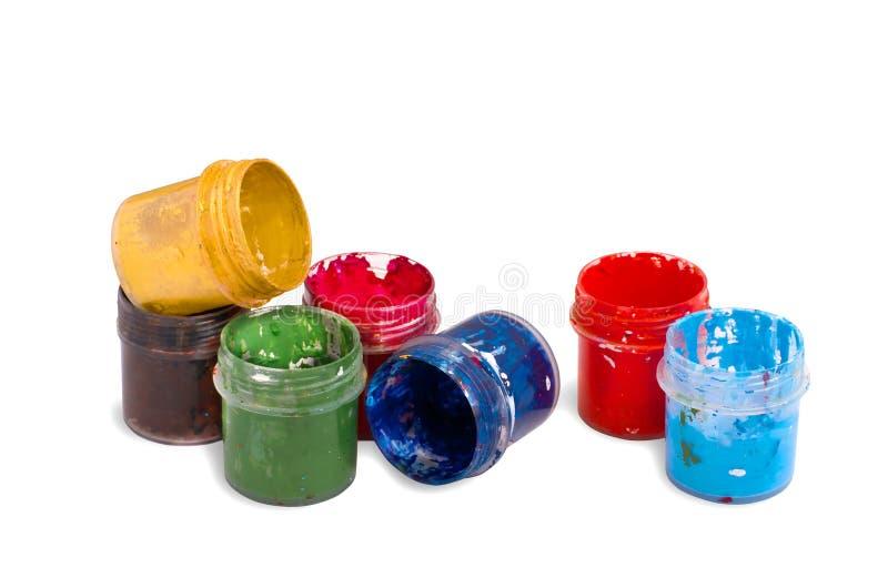 在容器的树胶水彩画颜料颜色 图库摄影