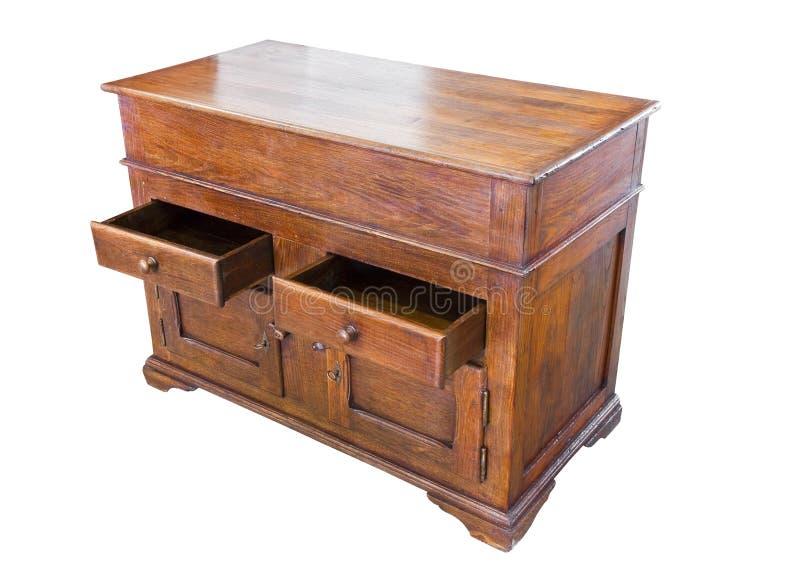 在容易的选择的白色背景恢复的老意大利木碗柜 图库摄影