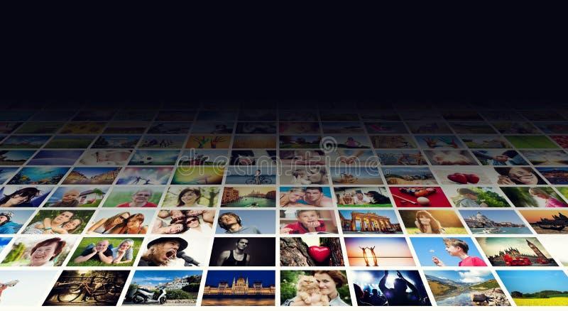 在宽现代显示器,屏幕的图象显示 库存图片