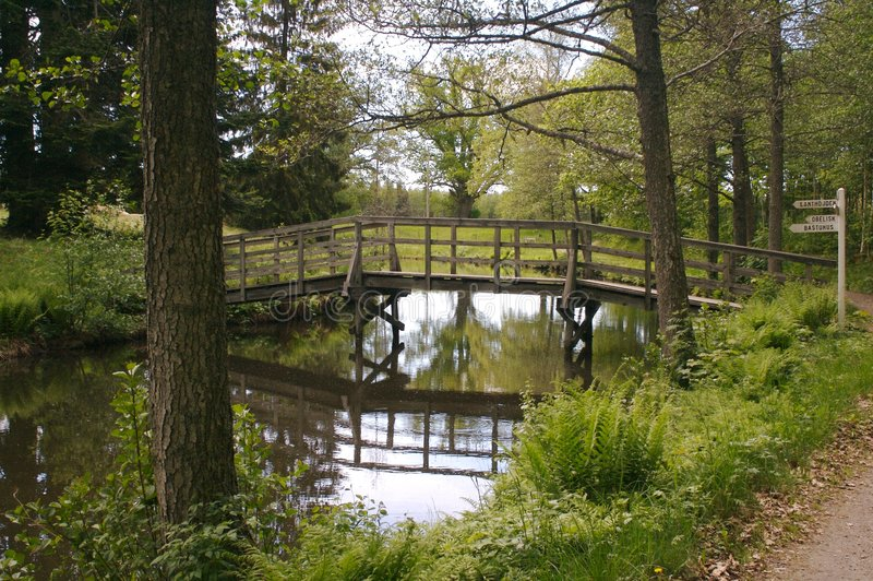 在寂静的水的桥梁 免版税库存图片