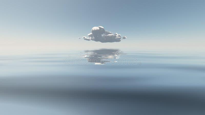 在寂静的水上的唯一云彩 皇族释放例证