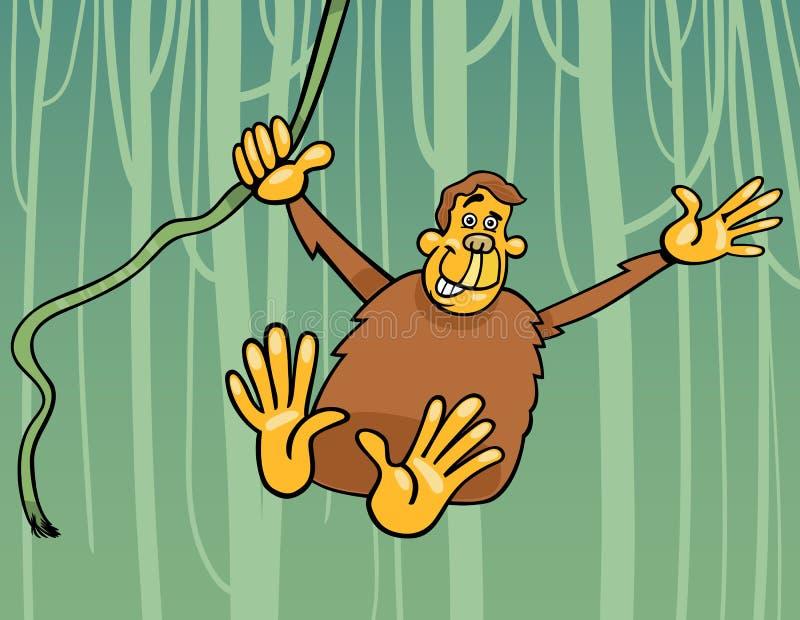 在密林动画片例证的猿 库存例证