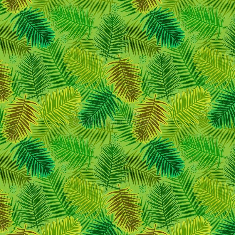 在密林无缝的重复的样式的叶子 库存例证