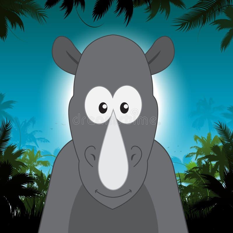 在密林背景前面的逗人喜爱的动画片犀牛 向量例证