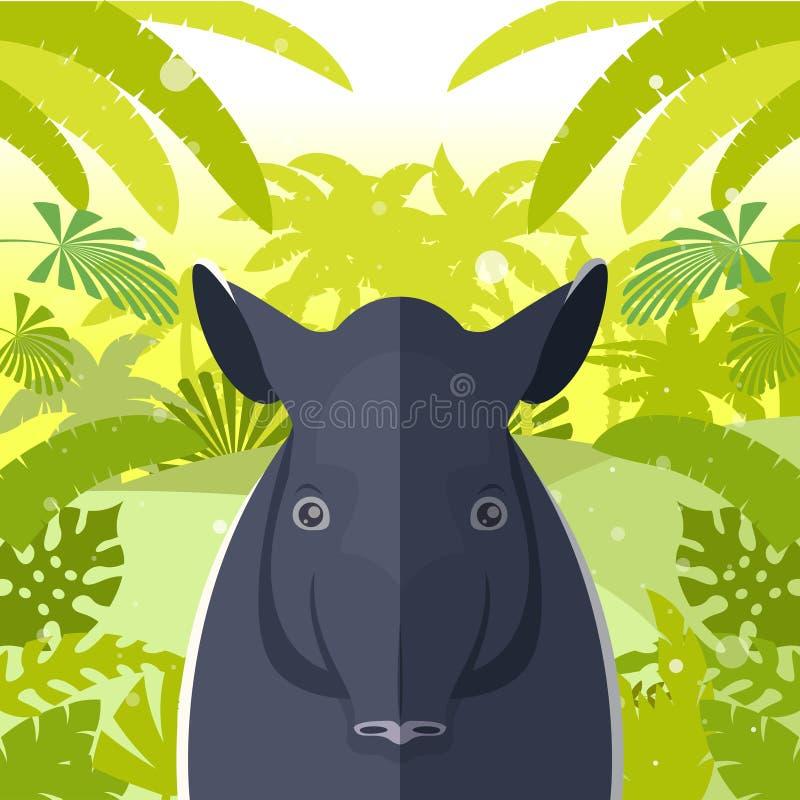 在密林背景的貘 库存例证