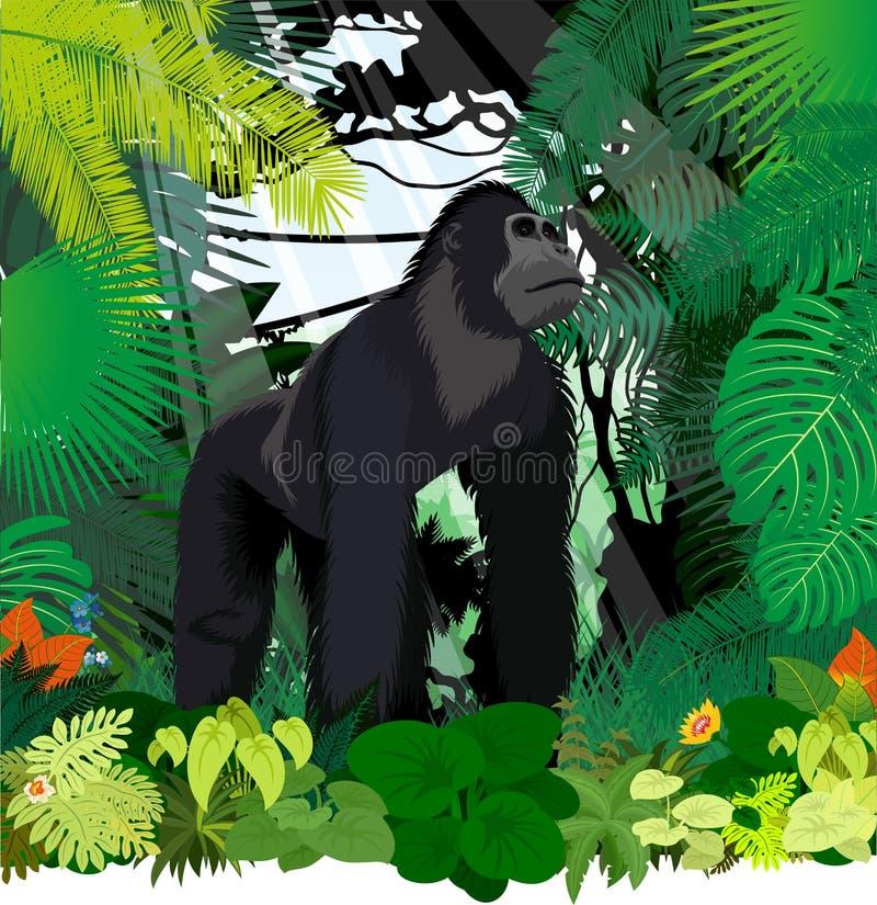 在密林雨林的传染媒介公大猩猩 向量例证