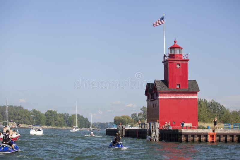 在密歇根湖的繁忙的湖海峡 免版税库存照片