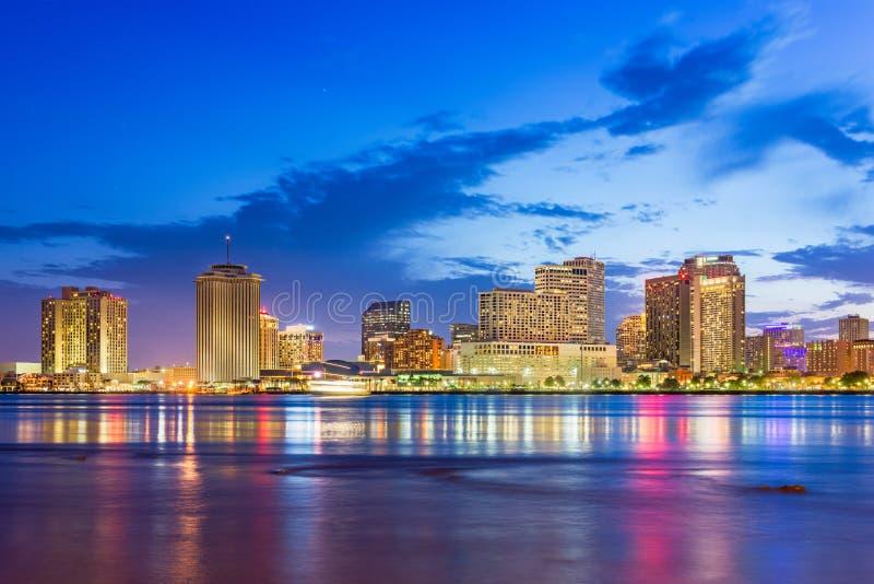 在密西西比河的新奥尔良,路易斯安那,美国街市市地平线 库存图片