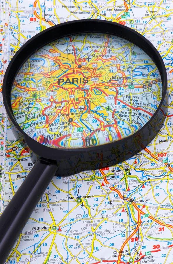 在寸镜之下的巴黎-法国映射 免版税库存图片
