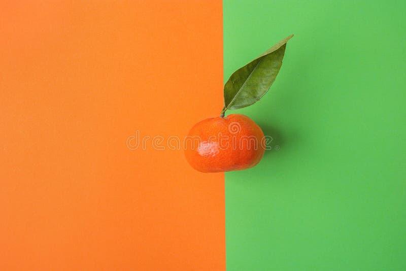 在对比背景的唯一明亮的成熟蜜桔从橙色绿色的组合 被称呼的创造性的图象 库存图片