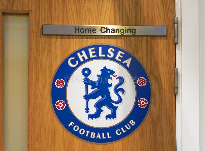 在对FC切尔西更衣室的入口 免版税库存照片