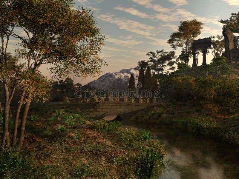 在寺庙废墟附近的桥梁 库存例证