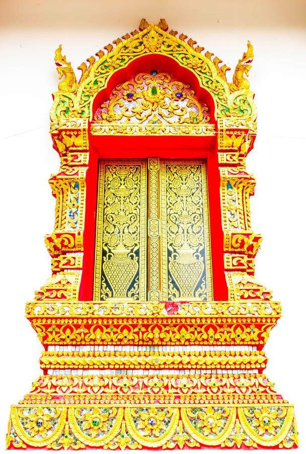 在寺庙泰国的教会窗口 库存图片