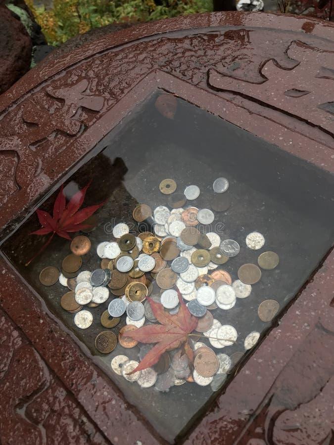 在寺庙的一点石水池的日本硬币 库存照片