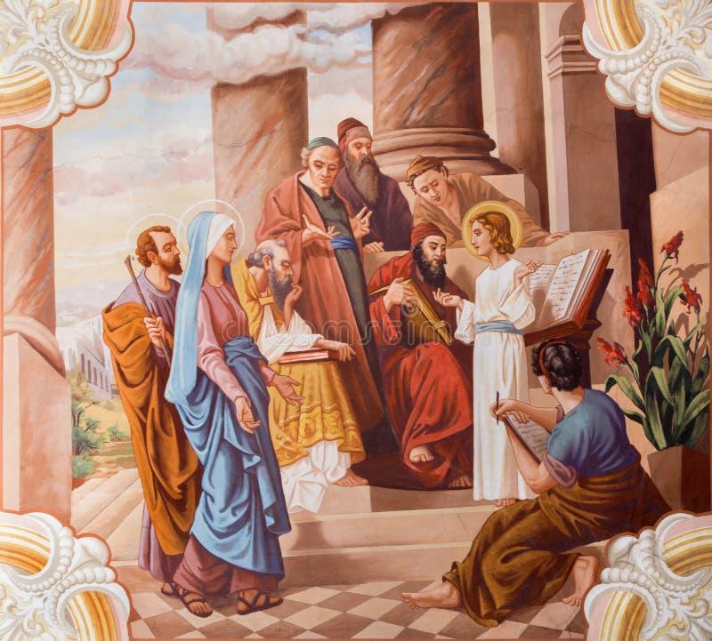 在寺庙的一点耶稣教学 从20的壁画 分 免版税图库摄影