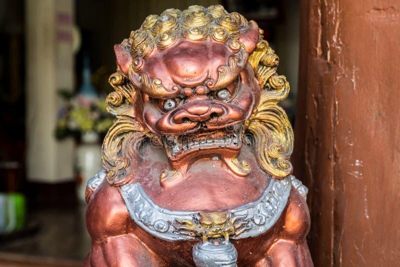 在寺庙的中国狮子 库存图片