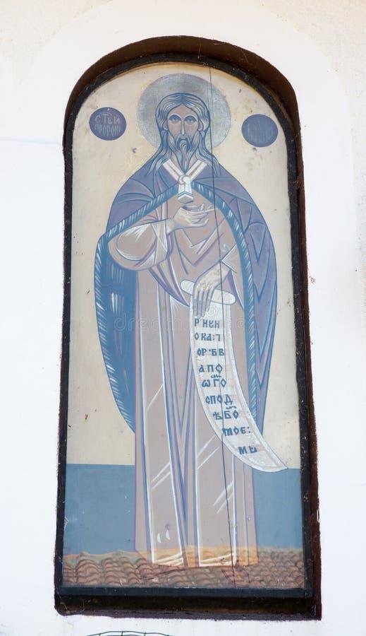 在寺庙的墙壁上的象在圣尼古拉斯修道院里  免版税库存图片