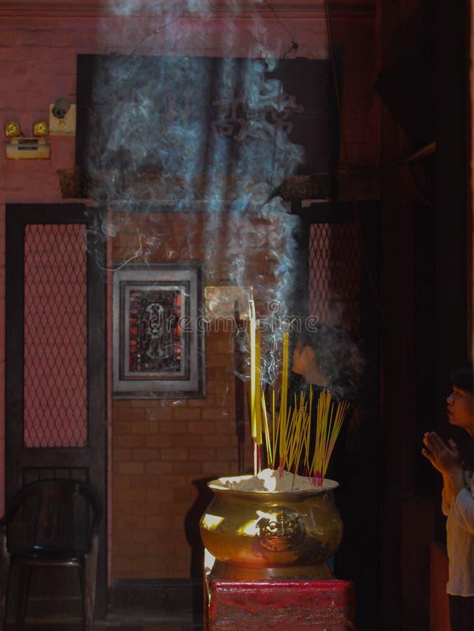 在寺庙的早晨,西贡,越南 免版税图库摄影