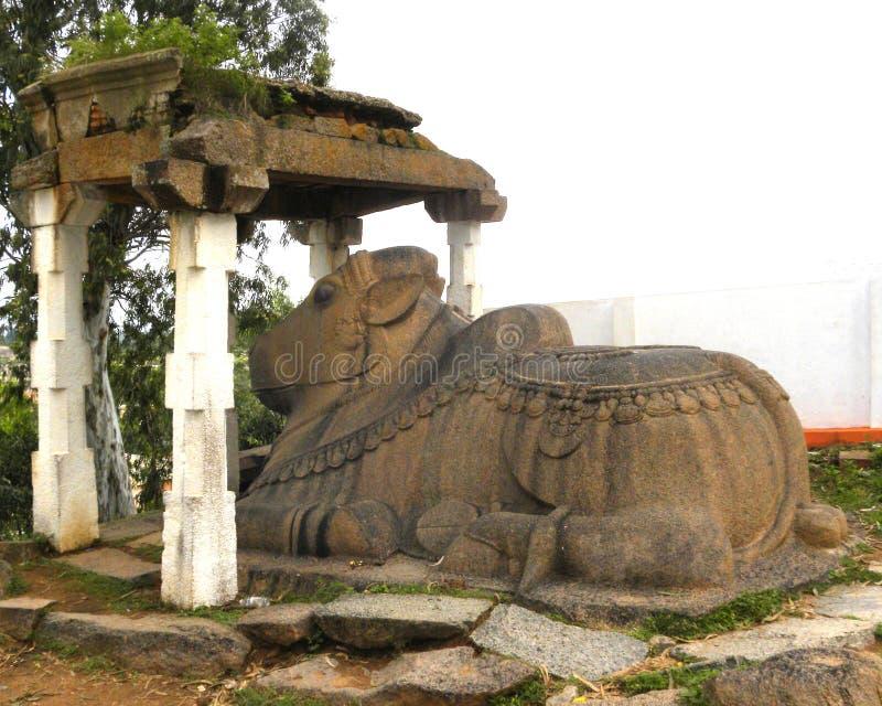 在寺庙的杜姆古尔,卡纳塔克邦,印度- 1月1日, 2009大楠迪公牛石头雕象 免版税库存图片