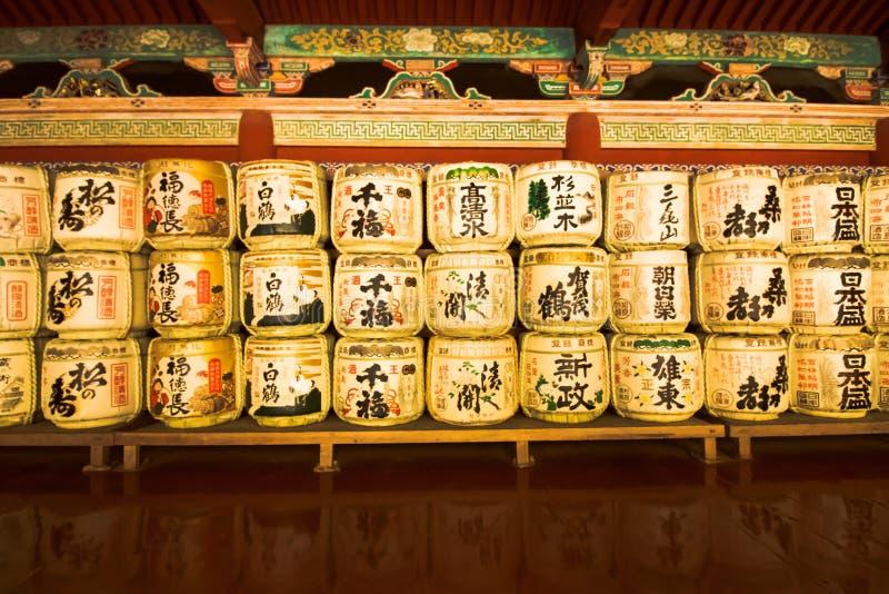 在寺庙的缘故barrells 免版税库存图片