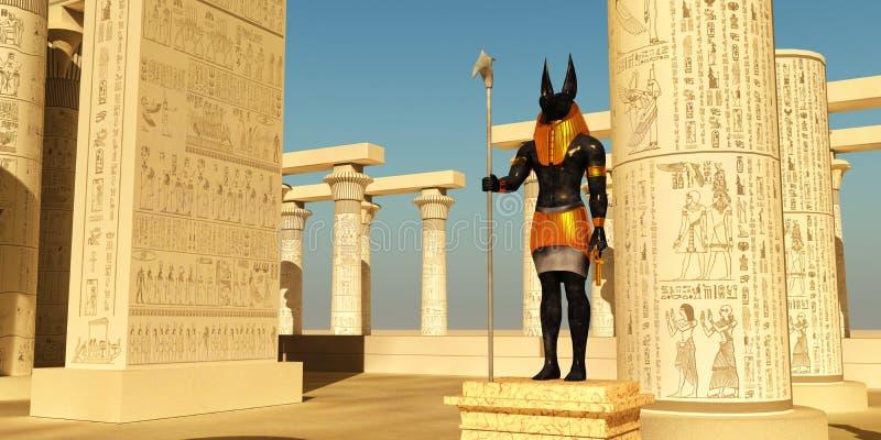 在寺庙的阿努比斯雕象 库存照片