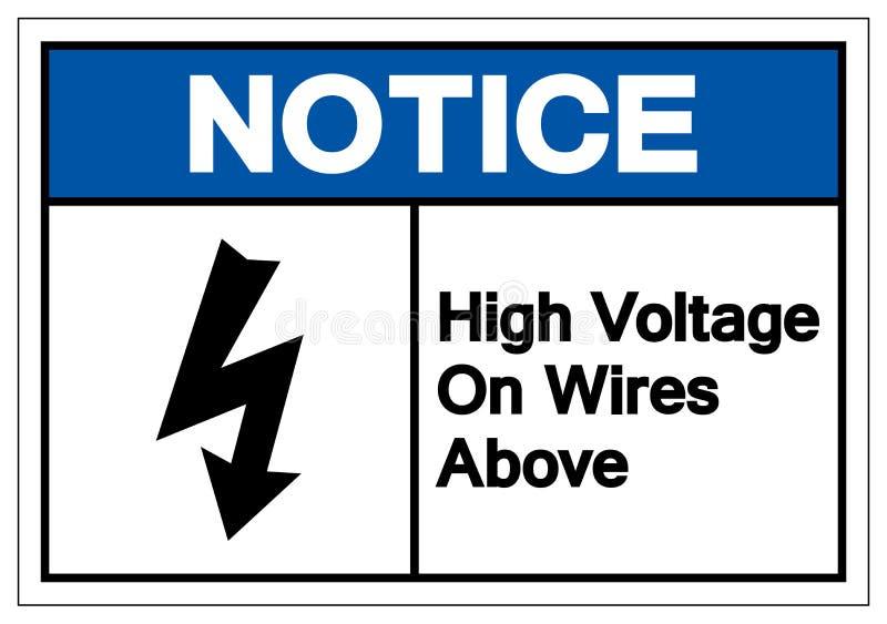 在导线的通知高压在标志标志,传染媒介例证,在白色背景标签的孤立上 EPS10 库存例证