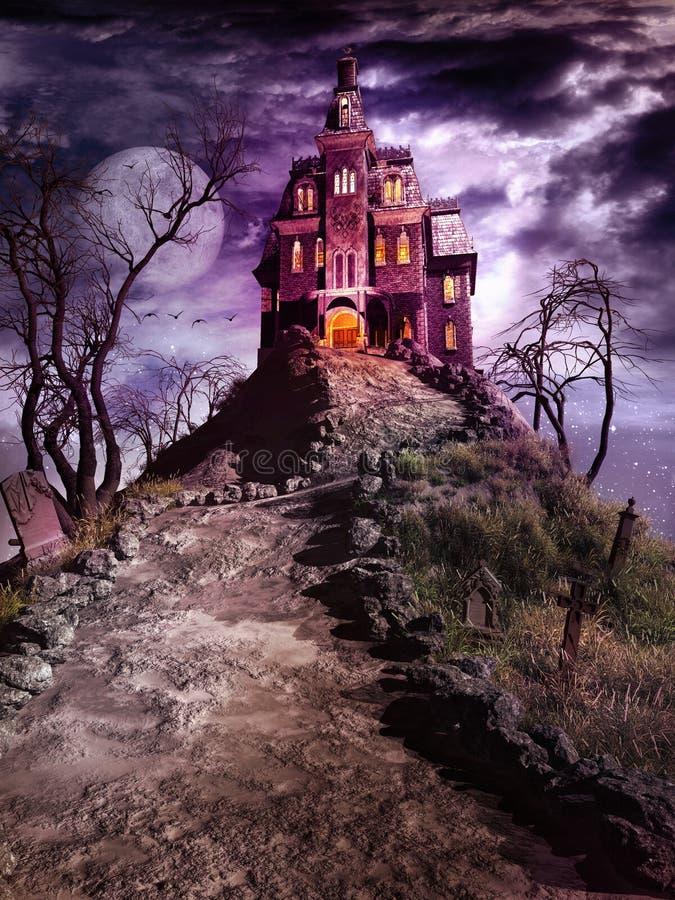 在小山的上面的被困扰的房子 向量例证