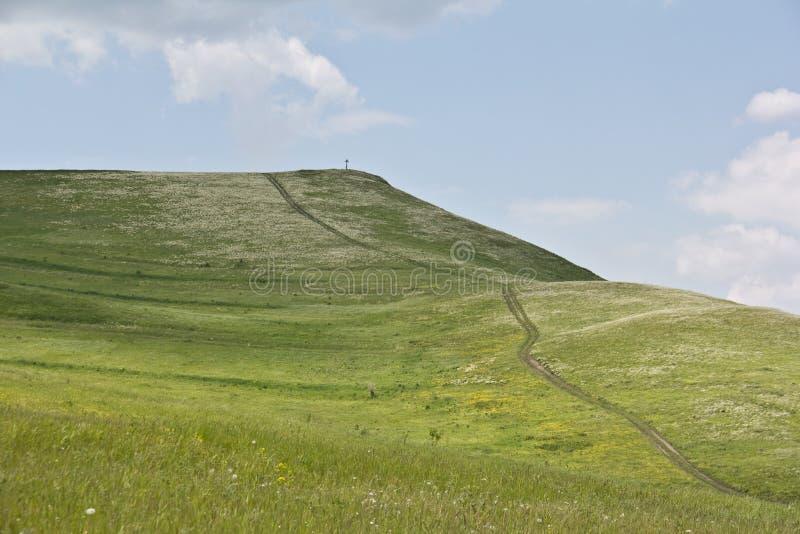 在小山的上面的路 库存照片