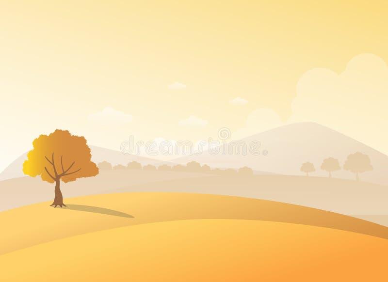在小山的偏僻的树有在日落视图的山背景 秀丽秋天领域和树风景 库存例证