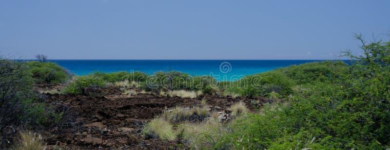在小山的夏天热在Hapuna海滩,大岛,夏威夷附近 免版税库存照片
