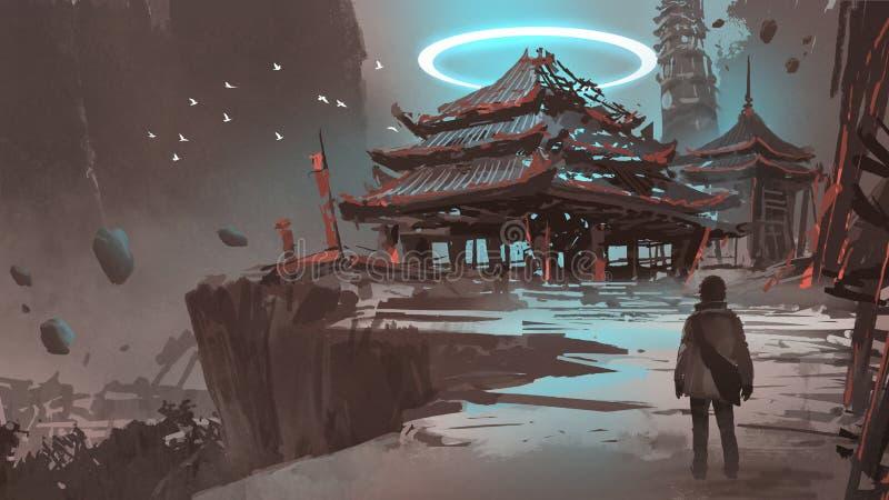 在小山的失去的寺庙 向量例证