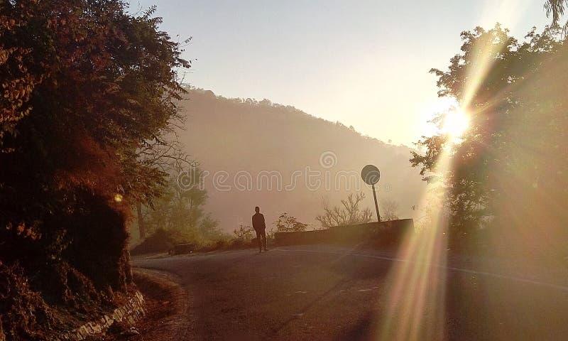 在小山的早晨步行 免版税库存照片