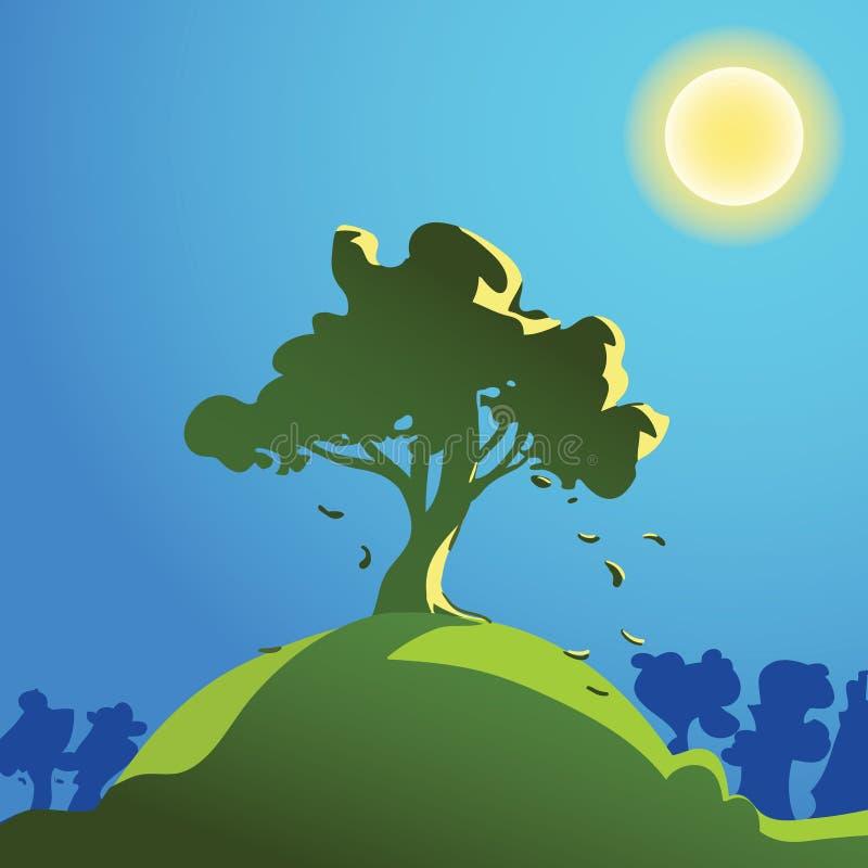 在小山的树 向量例证