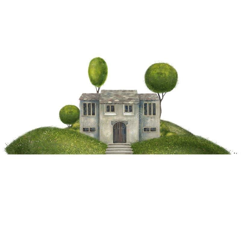 在小山的灰色古老大厦 在树的豪宅 在白色背景隔绝的建筑构成 库存例证