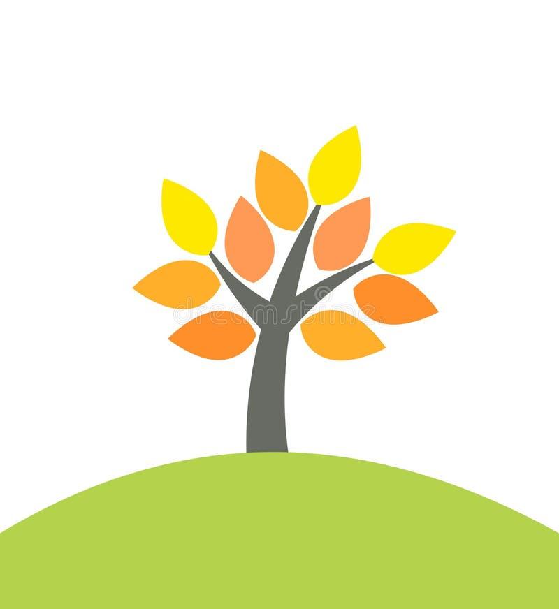 在小山的秋天树 向量例证